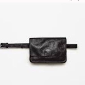 Zara black leather fanny pack clutch